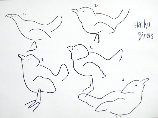 Haiku drawing birds