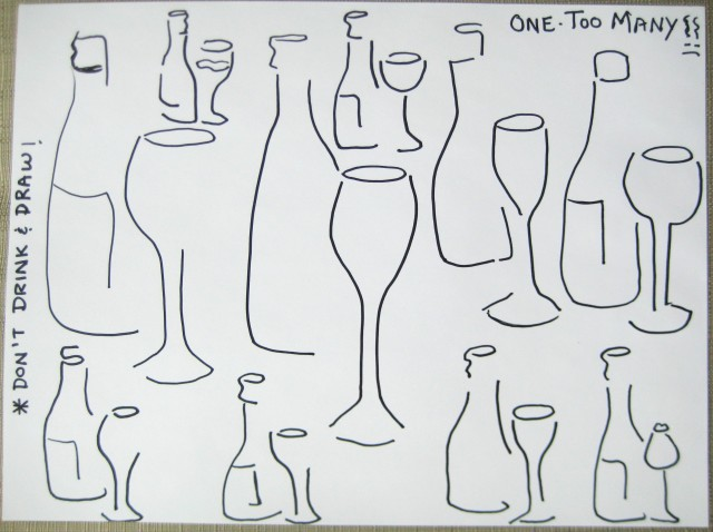Haiku drawing wine bottle and glass